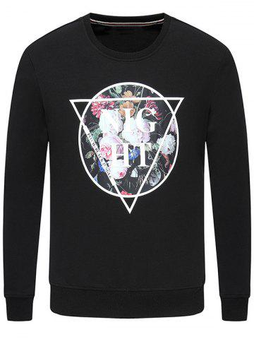 Cheap Floral Print Long Sleeve Crew Neck Sweatshirt BLACK M