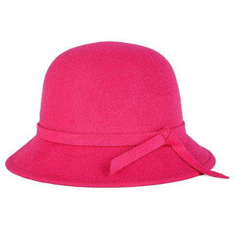Trendy Winter Long Band Faux Wool Fedora Hat ROSE RED