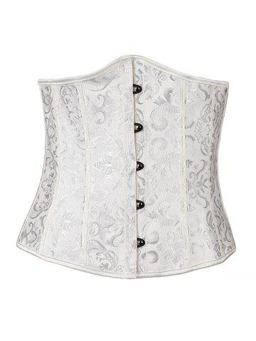 Online Hook Up Jacquard Lace-Up Corset With Panties WHITE L