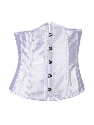 New Hook Up Lace-Up Corset With Panties WHITE 2XL