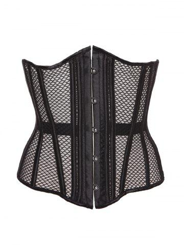 Hook Up Cut Out Corset With Panties - Black - Xl