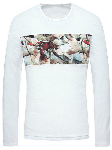 Chic Oil Painting Pattern Round Neck Long Sleeve T-Shirt