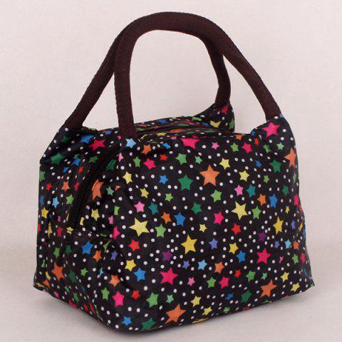 Shop Color Spliced Star Pattern Nylon Tote Bag - BLACK  Mobile