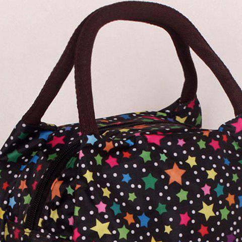Unique Color Spliced Star Pattern Nylon Tote Bag - BLACK  Mobile