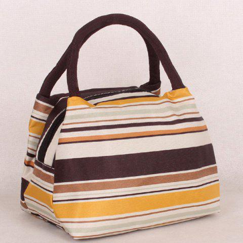 Unique Nylon Striped Pattern Color Block Tote Bag