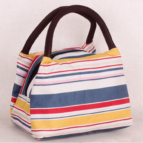 Chic Nylon Striped Pattern Color Block Tote Bag - YELLOW AND RED  Mobile