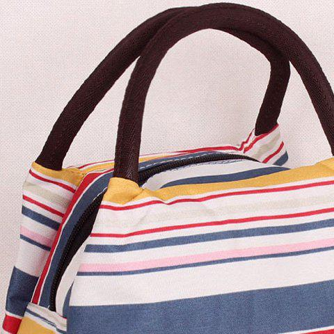 Latest Nylon Striped Pattern Color Block Tote Bag - YELLOW AND RED  Mobile