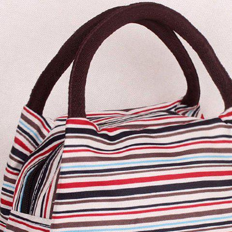 Outfits Nylon Striped Pattern Color Block Tote Bag - RED  Mobile