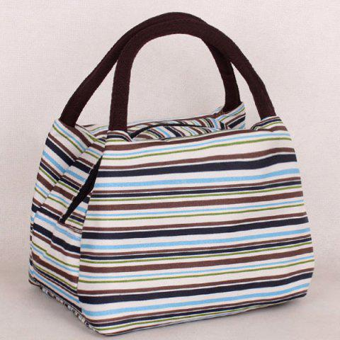 Outfits Nylon Striped Pattern Color Block Tote Bag - GREEN  Mobile