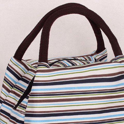 Fancy Nylon Striped Pattern Color Block Tote Bag - GREEN  Mobile
