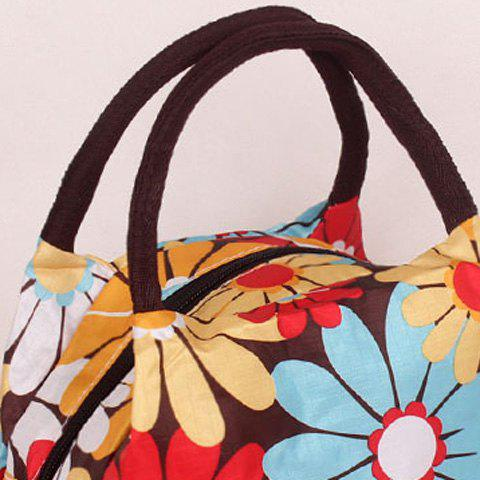 Discount Color Block Floral Print Nylon Tote Bag - BLUE+YELLOW+RED  Mobile