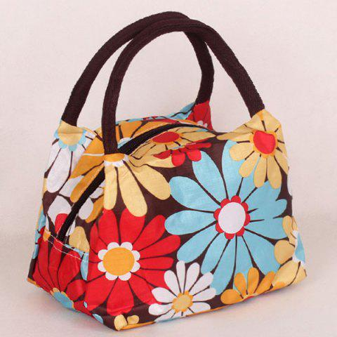 Chic Color Block Floral Print Nylon Tote Bag - BLUE+YELLOW+RED  Mobile