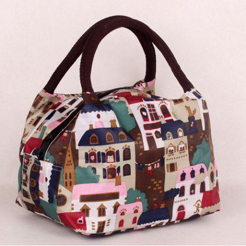 New Zipper House Print Color Block Tote Bag - DEEP BROWN  Mobile