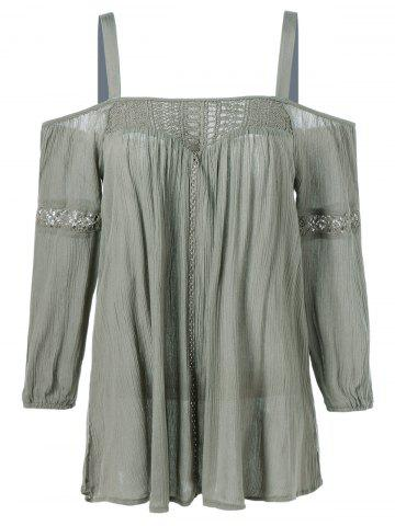 New Openwork Cut Out Patched Blouse