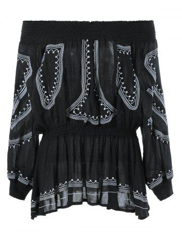 Trendy Elastic Waist Off The Shoulder Ethnic Blouse