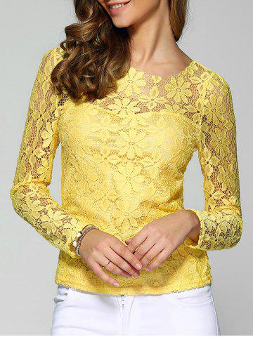 Outfit Long Sleeve Sheer Lace Blouse YELLOW 4XL