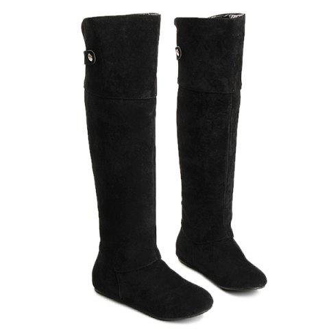 Chic Suede Metal Hidden Wedge Knee High Boots BLACK 43