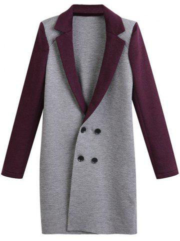 Plus Size Lapel Color Block Double Breasted Coat - Gray - Xl