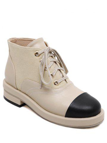 New Splicing Two-Tone Tie Up Ankle Boots APRICOT 38