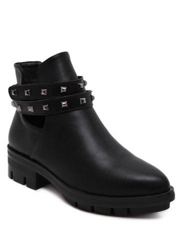 Pointed Toe Rivets Cut Out Ankle Boots - Black - 38