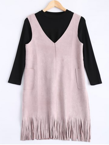 Fancy Faux Suede Fringed Dress and Stretchy Knitwear