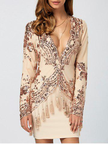 Discount Sequined Fringed Sheath Dress