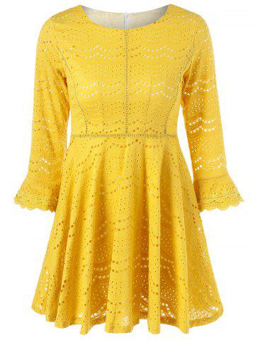 Cheap Bell Sleeve Sheer Lace Fit and Flare Dress
