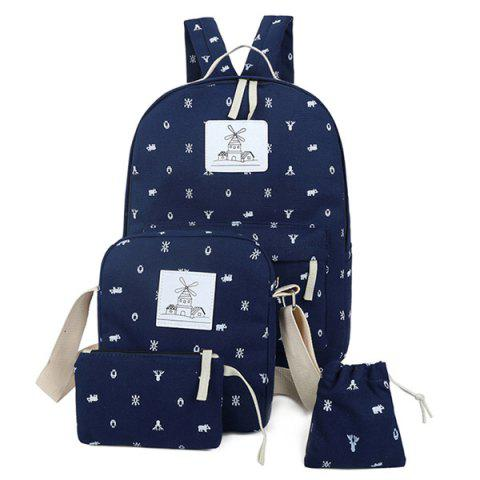 Store Color Spliced Animal Print Canvas Backpack