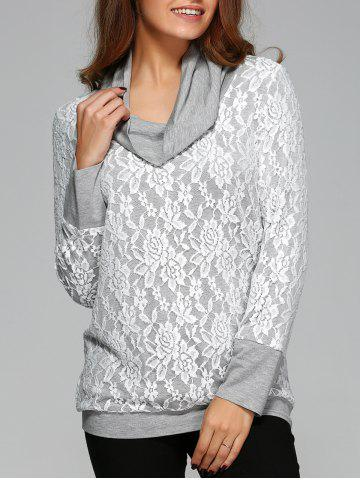 Cheap Cowl Neck Lace Blouse