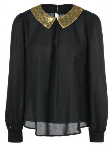 Fancy Sequined Flat Collar Blouse