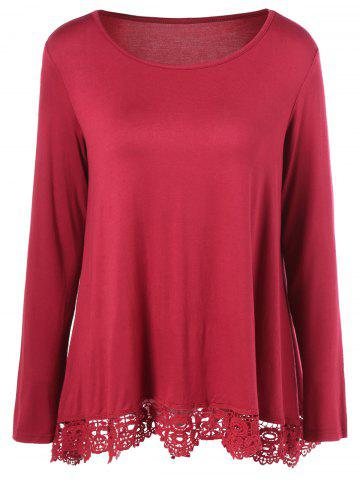 Hot Lace Hem Blouse RED M