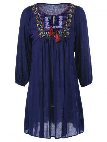Hot Embroidered Tie-Front Peasant Dress