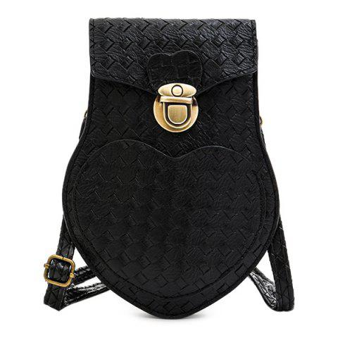 PU Leather Woven Pattern Irregular Shape Crossbody Bag - Black