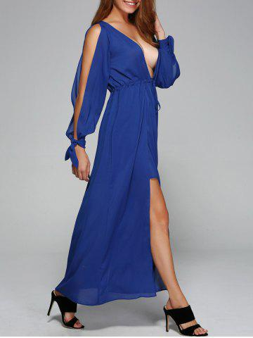 Chic Low Cut Slit Sleeve Tie Front Dress
