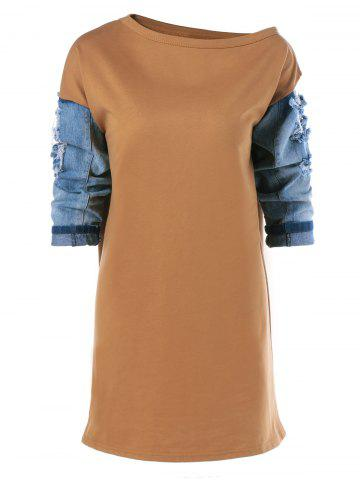 Store Ripped Patched 3/4 Sleeve Dress