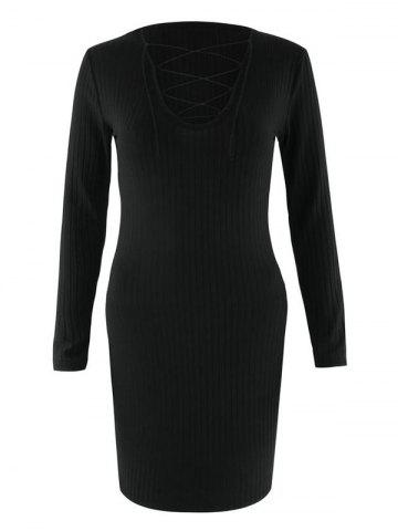 Shops Bodycon Long Sleeve Lace Up Dress