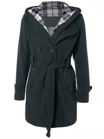 Chic Hooded Belted Wool Blend Coat
