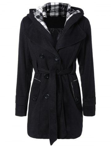 Online Hooded Belted Wool Blend Coat BLACK 2XL