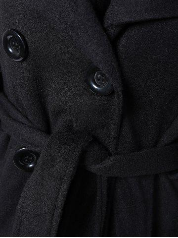 Outfit Hooded Belted Wool Blend Coat - XL BLACK Mobile