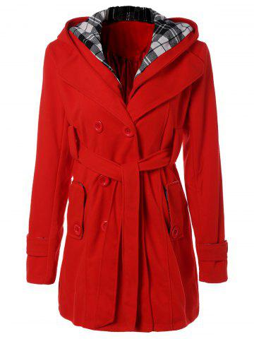 Shop Hooded Belted Wool Blend Coat