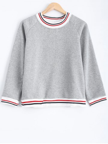 Unique Striped Flocking Loose-Fitting Sweatshirt GRAY 2XL