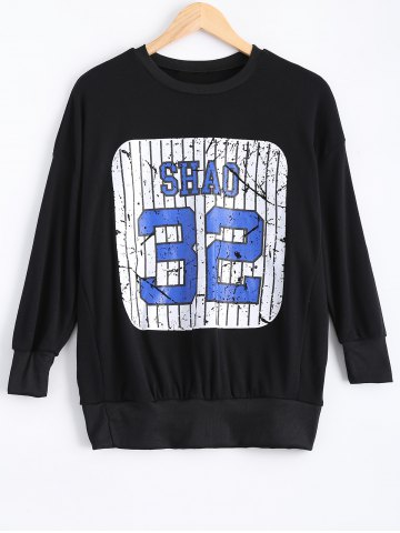 Store Number Print Loose-Fitting Sweatshirt