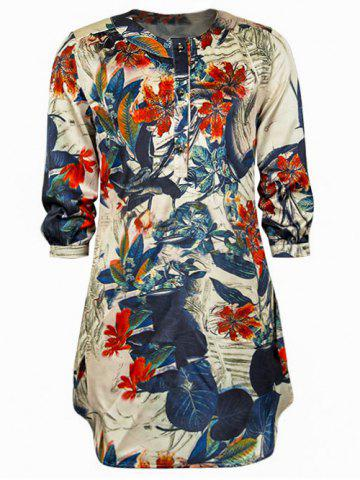 Outfits 3/4 Sleeve Chinese Painting Loose Dress