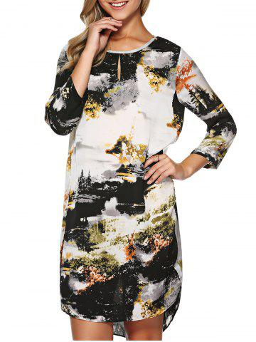 Store Chinese Painting Keyhole Asymmetrical Dress