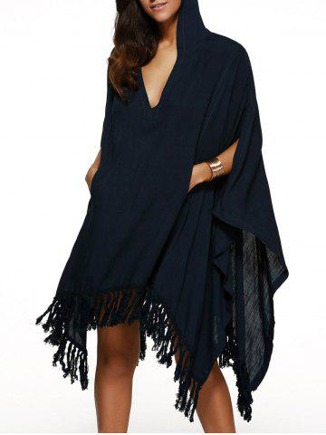 Best Handkerchief Hooded V Neck Fringe Cape Dress CADETBLUE XL