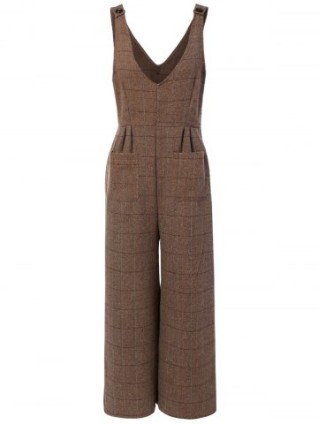 Discount Plaid Pocket Design Jumpsuit