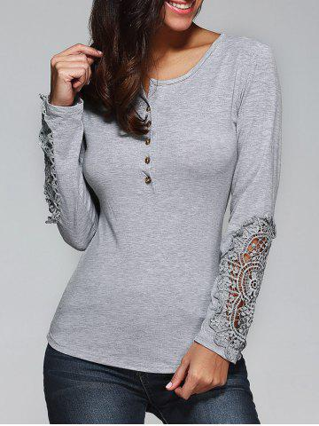 Fancy Buttoned Lace T-Shirt - M GRAY Mobile