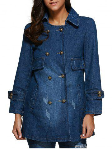 Latest Frayed Double Breasted Denim Coat DENIM BLUE M