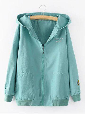 Online Hooded Letter Cartoon Embroidered Jacket LIGHT BLUE 3XL