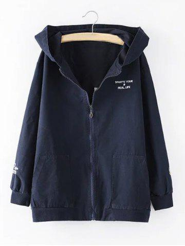 Hot Hooded Letter Cartoon Embroidered Jacket - 3XL PURPLISH BLUE Mobile
